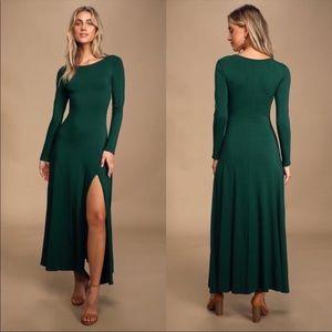 Lulus swept away forest green maxi dress